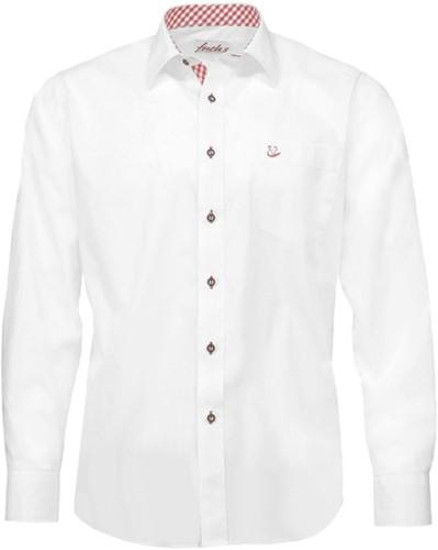 Tiroler Trachten Slimfit Overhemd (Witte-Rode blokjes)