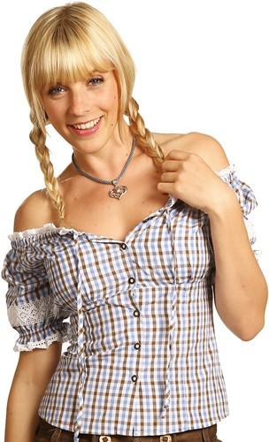 Blauw/Bruin/Witte Tiroler Dames Blouse Carmen