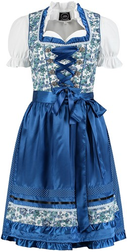 Blauw-Wit Bloemen Dirndl 60cm Luxe 3dlg.