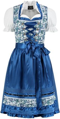 Dirndl Blauw-Wit Bloemen 60cm Luxe 3dlg.