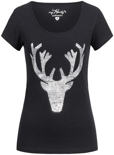 Zwarte Trachten T-shirt Hert (met Zilveren Pailletten)