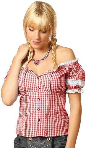 Rood/Witte Tiroler Dames Blouse Carmen