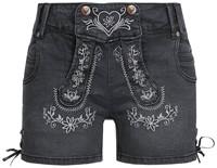 Tiroler Dames Trachten Kort Jeans Zwart