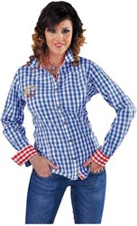 Tirolerblouse Blauw-Wit voor dames