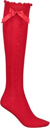 Rode Tiroler Kniekousen voor dames (75% katoen)