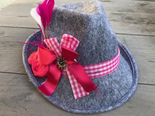 Oktoberfest Hoedje Grijs - Pink voor dames