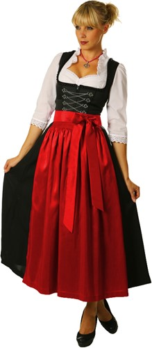 Dames Dirndl Lang Luxe Zwart-Rood (95cm)