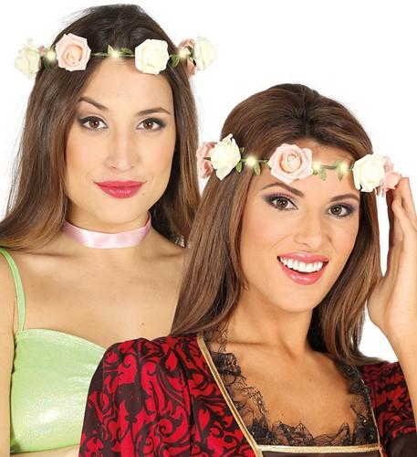 Haarband Bloemen met Roosjes en Licht