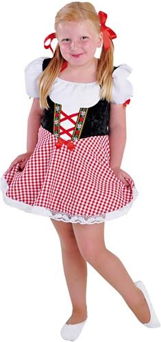 Meisjes Dirndl Jurkje Rood-Zwart