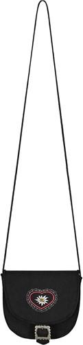 Luxe Dirndl Tasje met Hartje en Edelweiss opdruk (zwart)