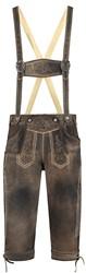 Lange Lederhose voor Heren Luxe Antiek Bruin (rundleer)