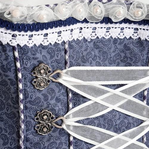Dirndl Tamilla Blauw Luxe (55cm) (detail midden)
