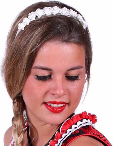 Dirndl Haarband Bloemen Wit Luxe