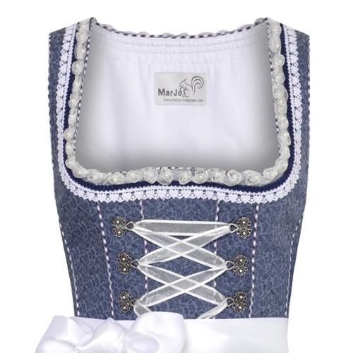Dirndl Tamilla Blauw Luxe (55cm) (detail bovenkant)