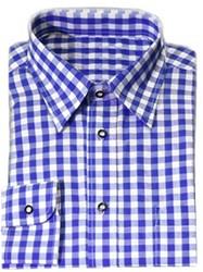 Luxe Blauw Tiroler Overhemd (katoen en polyester)
