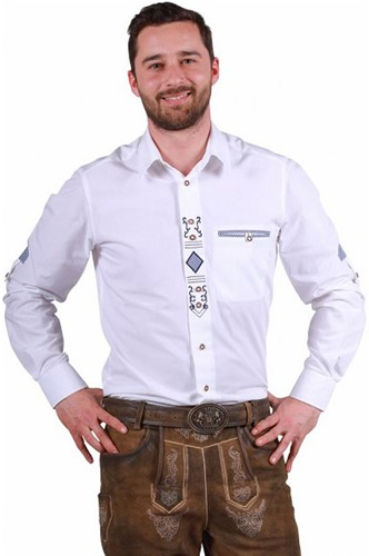 Trachtenhemd Julian Luxe Wit-Blauw