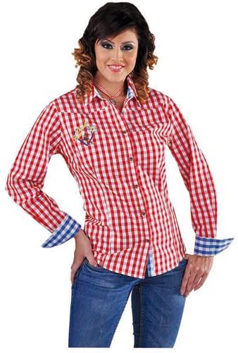 Tirolerblouse Rood-Wit voor dames