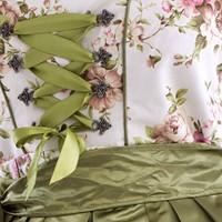 Dirndl Olijfgroen met Roze Bloemen 60cm (3dlg.) -2