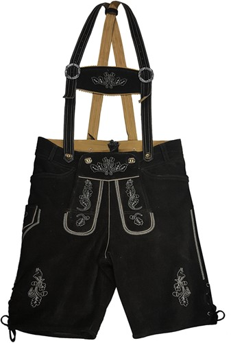 Lederhose Kort Zwart Rundleer Heren (wit stiksel)