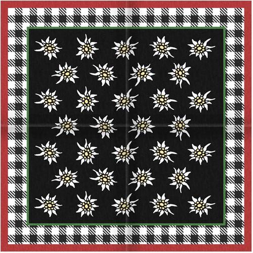 Tiroler Zakdoek - Sjaal Edelweiss Zwart