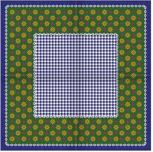 Tiroler Zakdoek - Sjaal met Bloemen Blauw
