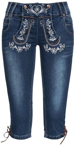 Blauwe Tiroler Dames Trachten Jeans (driekwart)