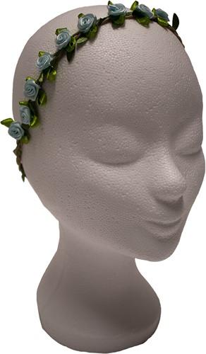 Bloemen Haarbandje Lichtblauw Satijn
