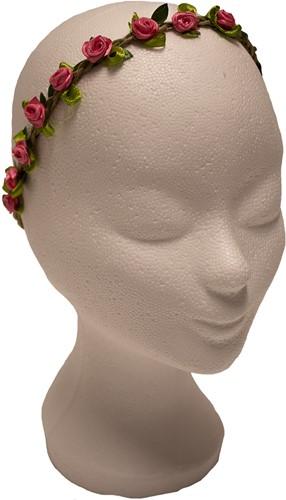 Bloemen Haarbandje Pink Satijn