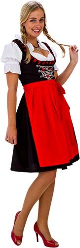 Zwart/Rode Luxe Dirndl 60cm 3dlg. (100% Katoen)