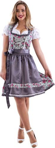 Grijs met Roze Bloemen Dirndl 60cm Luxe 3dlg.