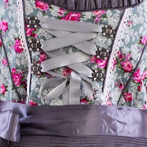 Dirndl Grijs met Roze Bloemen 60cm Luxe 3-delig-2