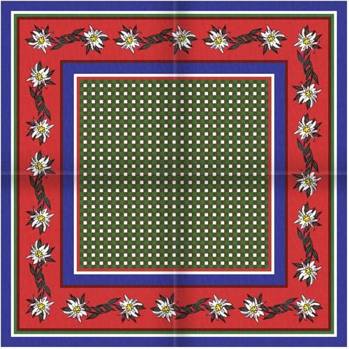 Tiroler Zakdoek - Sjaal Edelweiss Blauw Rood