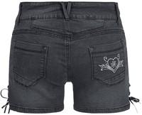 Tiroler Dames Trachten Kort Jeans Zwart -2