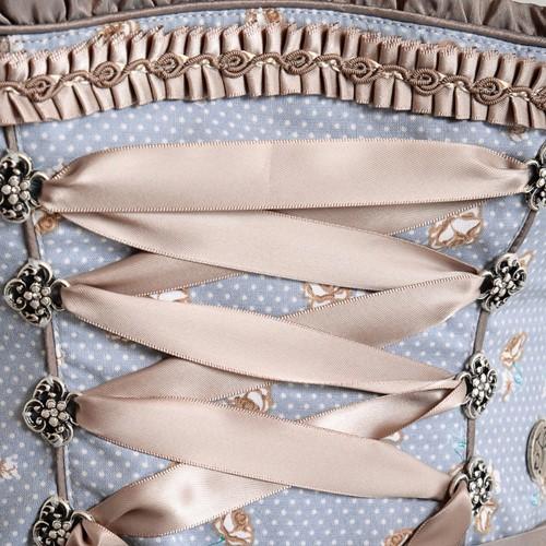 Dirndl Estella Blauw-Koper Luxe (55cm) (detail midden)