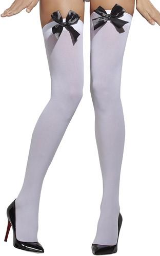Wit met Zwarte Strik Overknee Kousen