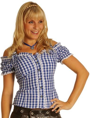 Luxe Tiroler Blouse Blauw Anne
