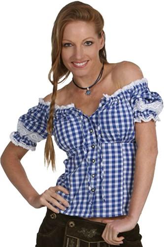 Blauwe Luxe Tiroler Blouse Emma