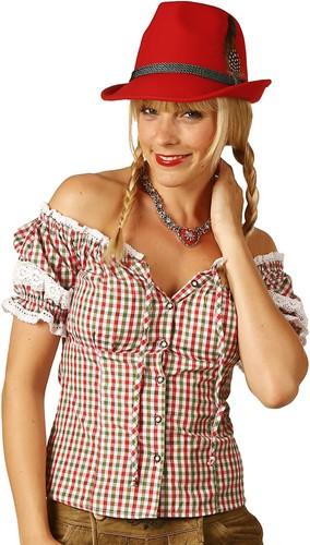 Rood/Groen/Witte Tiroler Dames Blouse Carmen