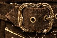 Heren Lederhose Kort Luxe Antiek Bruin met Riem-2