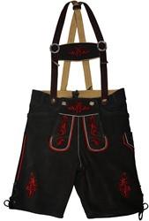 Lederhose Kort Zwart Rundleer (rood stiksel)