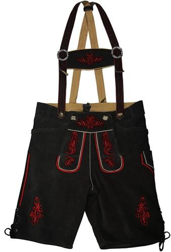 Lederhose Kort Zwart Rundleer Heren (rood stiksel)