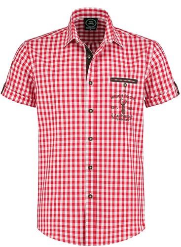Trachtenhemd Rood/Wit Korte Mouwen (100% katoen)