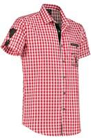 Trachtenhemd Rood/Wit Korte Mouw (100% katoen)-2