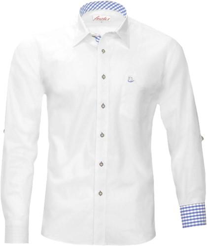 Tiroler Trachten Slimfit Overhemd (Witte-Blauw blokjes)