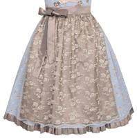 Dirndl Estella Blauw-Koper Luxe (55cm) (detail onder)