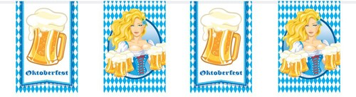 Vlaggenlijn Oktoberfest Bierpullen Vierkant 10m