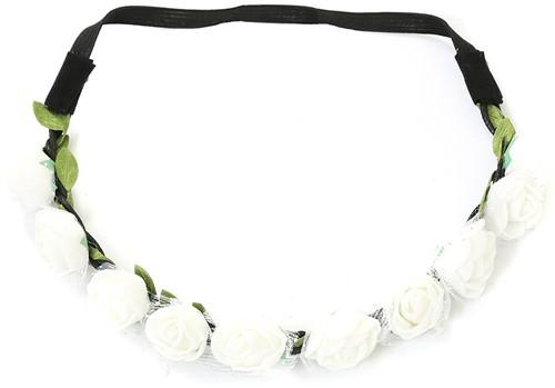 Bloemen Haarbandje Wit met Tule (foam)