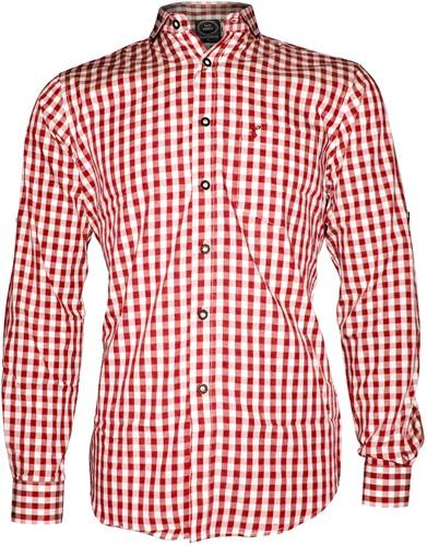 Tiroler Trachtenhemd Rood/Wit T(100% katoen)