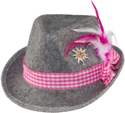 Tiroler Hoed Grijs/Pink voor dames