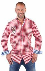 Tiroler Overhemd Rood/Wit Hirsch (100% katoen)